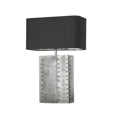 David Hunt Lighting, Riveted Rectangular Table Lamp Pewter Base Only, RIV4367 (7-10 day Delivery)
